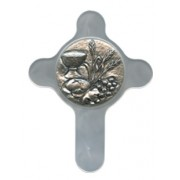 "Communion Pewter Medal with Mother of Pearl Cross cm.6.5x8.5 - 2 1/2""x3 1/3"""