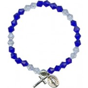Elastic Crystal Bracelet with Crucifix and Medal mm.5.5 Bead Dark Blue