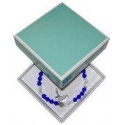 Elastic Crystal Bracelet with Crucifix and Medal mm.5.5 Bead Dark Blue Gift Boxed