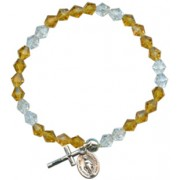 Elastic Crystal Bracelet with Crucifix and Medal mm.5.5 Bead Topaz