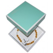 Elastic Crystal Bracelet with Crucifix and Medal mm.5.5 Bead Topaz Gift Boxed