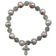 Elastic Moonstone Bracelet with Cross mm.9 Bead Pink