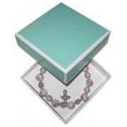 Elastic Moonstone Bracelet with Cross mm.9 Bead Pink Gift Boxed
