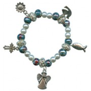 Elastic Moonstone and Imitation Pearl Bracelet with 5 Charms mm.9 Bead Green