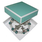 Elastic Moonstone and Imitation Pearl Bracelet with 5 Charms mm.9 Bead Green Gift Boxed