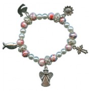 Elastic Moonstone and Imitation Pearl Bracelet with 5 Charms mm.9 Bead Pink