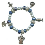 Elastic Moonstone and Imitation Pearl Bracelet with 5 Charms mm.9 Bead Blue