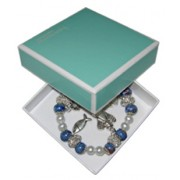 Elastic Moonstone and Imitation Pearl Bracelet with 5 Charms mm.9 Bead Blue Gift Boxed