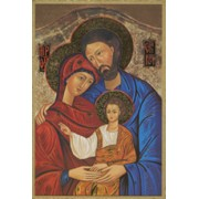 "Icon Holy Family Plaque cm.15.5x10.5 - 6""x4"""