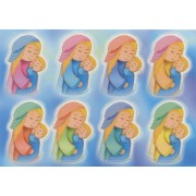 "Mother and Child Glow in the Dark Stickers cm.6.5x10 - 2.5""x4"""