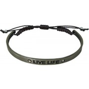 "Pewter Bracelet with Inspirational Words ""LIVE LIFE"" Gift Boxed"