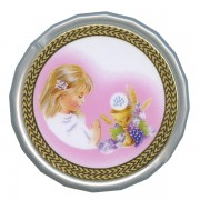 Girl Communion White Octagon Rosary Box cm.5 - 2""