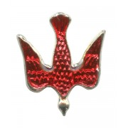 Dove Red Enamel Lapel Pin Silver Plated mm.20 - 3/4""