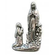 Lourdes Lapel Pin Pewter mm.21- 3/4""