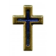Gold Plated Flat Cross with Blue Enamel Lapel Pin cm.2 - 3/4""