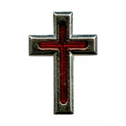 Nickel Plated Flat Cross with Red Enamel Lapel Pin mm.20 - 3/4""
