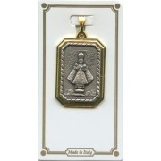 Infant of Prague Rectangle 2 Tone Medal mm.25 - 1""