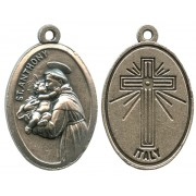 St.Anthony Oxidized Oval Medal mm.22- 7/8""