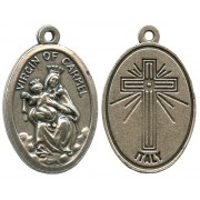 Mount Carmel Oxidized Oval Medal mm.22- 7/8""
