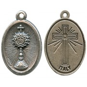 Chalice First Communion Oxidized Oval Medal mm.22- 7/8""
