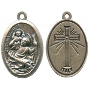 St.Christopher Oxidized Oval Medal mm.22- 7/8""
