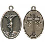 Crucifix Oxidized Oval Medal mm.22- 7/8""