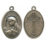 Our Lady of Sorrows Oxidized Oval Medal mm.22- 7/8""