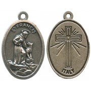 St.Francis Oxidized Oval Medal mm.22- 7/8""