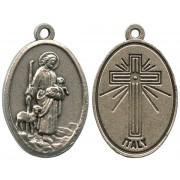 Good Shepherd Oxidized Oval Medal mm.22- 7/8""