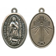 Guadalupe Oxidized Oval Medal mm.22- 7/8""