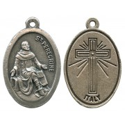 St.Peregrine Oxidized Oval Medal mm.22- 7/8""