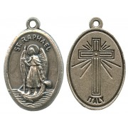 St.Raphael Oxidized Oval Medal mm.22- 7/8""