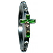Rosary Ring Metal with Green Enamel mm.16 - 5/8""
