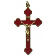 """Ruby Red Gold Plated Pocket Crucifix mm.75 - 3"""""""