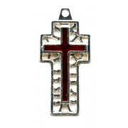 Flat Cross with Red Enamel Perforated mm.30- 1 1/4""