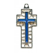 Flat Cross with Blue Enamel Perforated mm.30- 1 1/4""
