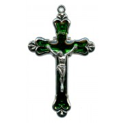 """Crucifix Nickel Plated with Emerald Enamel mm.58 - 2 1/4"""""""