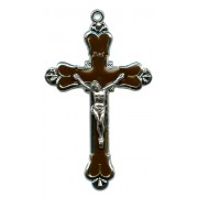 """Crucifix Nickel Plated with Brown Enamel mm.58 - 2 1/4"""""""
