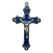 """Crucifix Nickel Plated with Blue Enamel mm.58 - 2 1/4"""""""