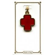 Gold Plated Cross with Red Enamel mm.18 - 1/2""