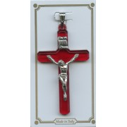 """Ruby Red Lucite Pocket Crucifix mm.38- 1 1/2"""""""