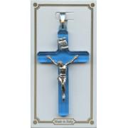 "Blue Lucite Pocket Crucifix mm.38- 1 1/2"""