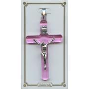 "Pink Lucite Pocket Crucifix mm.38- 1 1/2"""