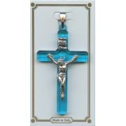 "Aqua Lucite Pocket Crucifix mm.38- 1 1/2"""
