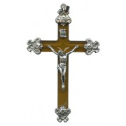 """Brown Lucite and Pewter Crucifix mm.75 - 3"""""""