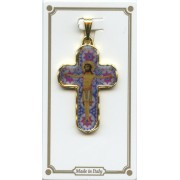 "Sapphire Murrina Pocket Crucifix Gold Plated mm.30 1 1/4"""