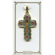 "Emerald Murrina Pocket Crucifix Gold Plated mm.30 1 1/4"""