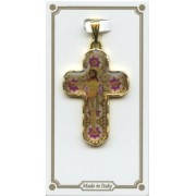 "White Murrina Pocket Crucifix Gold Plated mm.30 1 1/4"""