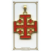 Jerusalem Cross Gold Plated Enamelled mm.30 - 1 1/4""
