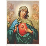 "Immaculate Heart of Mary Print cm.19x26 - 7 1/2""x 10 1/4"""